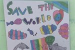 School children brighten up recycling centre with 'save the planet' artworks
