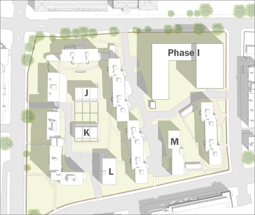 Plan of where housing would be built as part of a Clichy Estate infill scheme
