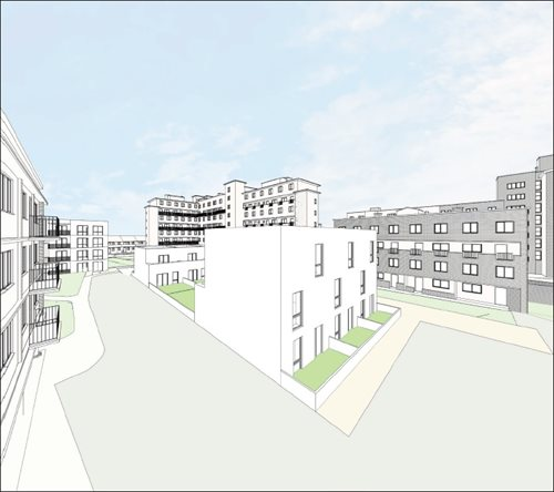 Artist's impression of homes that could be built as part of an infill scheme on the Clichy Estate