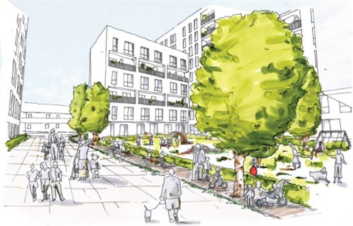 Sketch showing an initial view of what a regeneration scheme on the Clichy Estate might look like