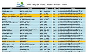 Sports Weekly Timetable
