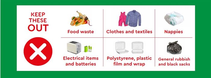 keep out: food waste, clothes, nappies, electrical items, batteries, polystyrene and plastic wrap