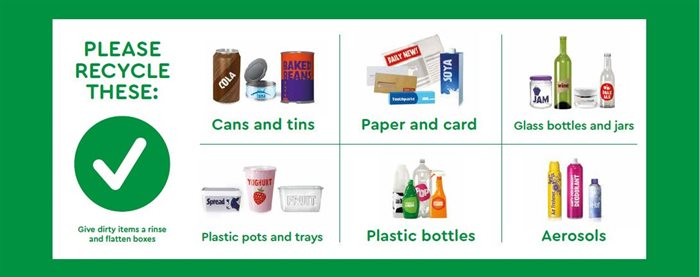 what to recycle: cans, tins, paper, card, glass, plastic pots, trays and bottles, aerosols