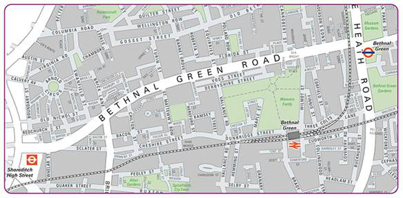 Map of Bethanl Green Road