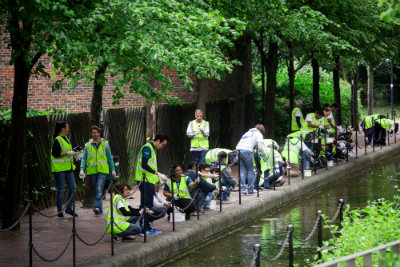Volunteers cleaning wapping canal
